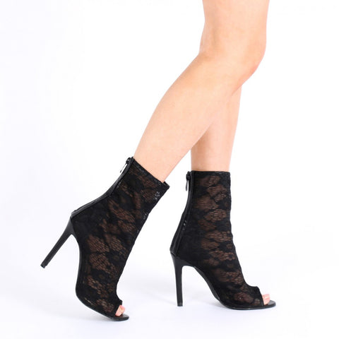 Lace Peeptoe Ankle Boots Black