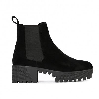 Cleated Chelsea Boots Black Suede