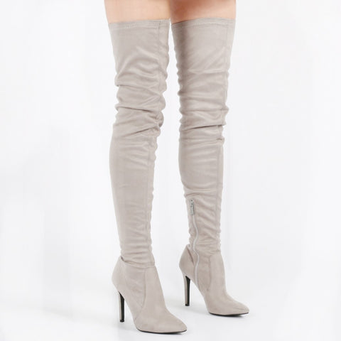 Faux Suede Thigh High Boots Grey