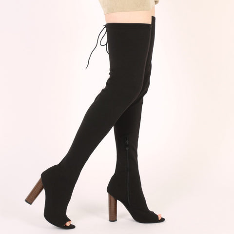 Knitted Peeptoe Long Boots in Black