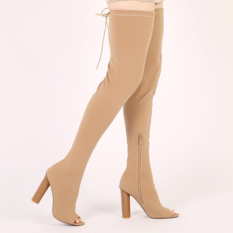 Knitted Peeptoe Long Boots in Nude