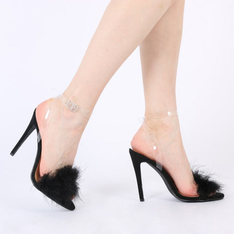 Kitty Faux Feather Stilettos Black