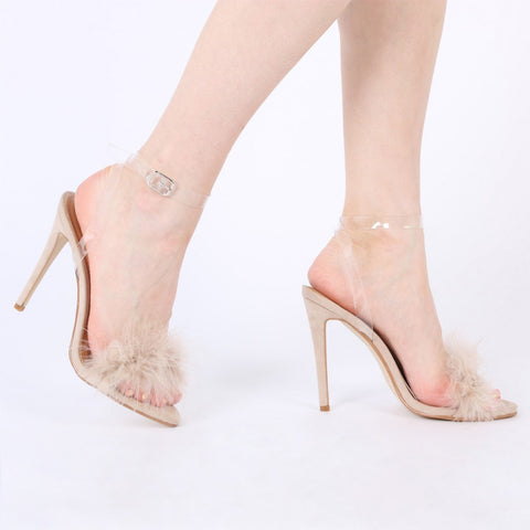 Kitty Faux Feather Stilettos Nude