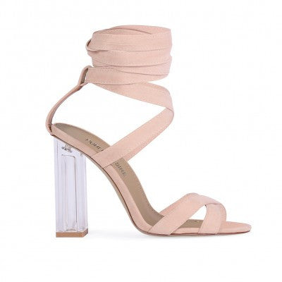 Wrap Around Faux Suede Lucite Heels Nude