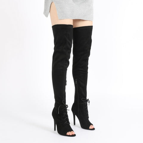 DENISE LACE UP FRONT LONG BOOTS IN BLACK FAUX SUEDE