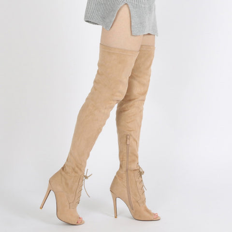 DENISE LACE UP FRONT LONG BOOTS IN BEIGE FAUX SUEDE