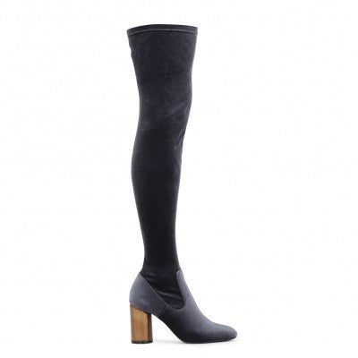ELLIS MIRRORED HEEL LONG BOOTS IN GREY VELVET