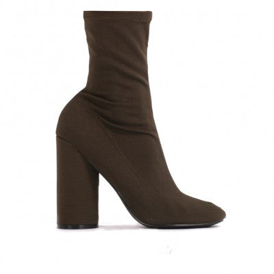 ELSA SOCK FIT ROUND HEEL ANKLE BOOTS IN KHAKI STRETCH