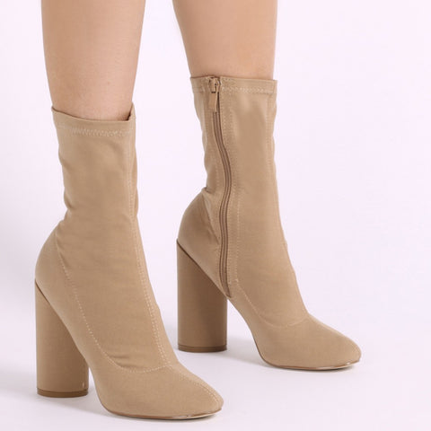 ELSA SOCK FIT ROUND HEEL ANKLE BOOTS IN NUDE STRETCH