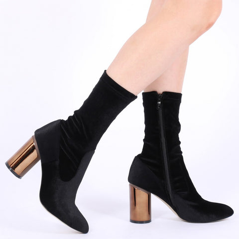 ELVA MIRRORED HEEL ANKLE BOOTS IN BLACK VELVET