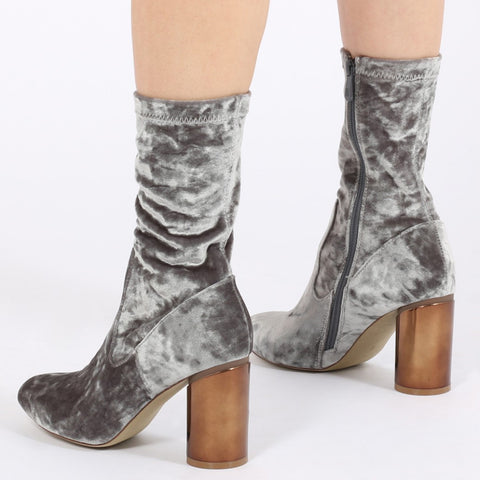 ELVA MIRRORED HEEL ANKLE BOOTS IN SILVER VELVET