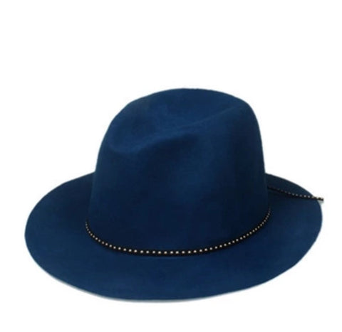 Classic Fedora with Leather Band Blue