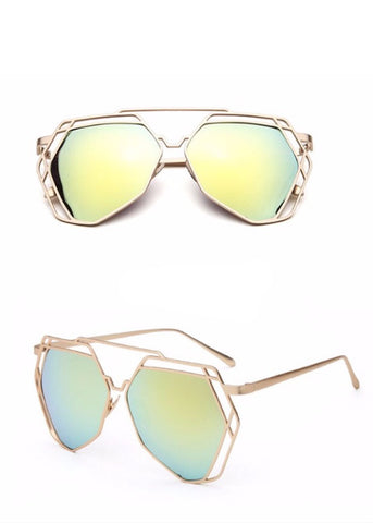 Street Fly Polygonal Mirrored Sunglasses Style 3
