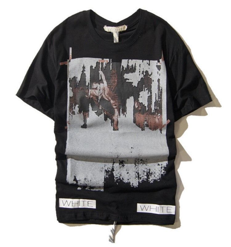 Off white mural coutur shirt onyx hearts for Murals on the t shirt