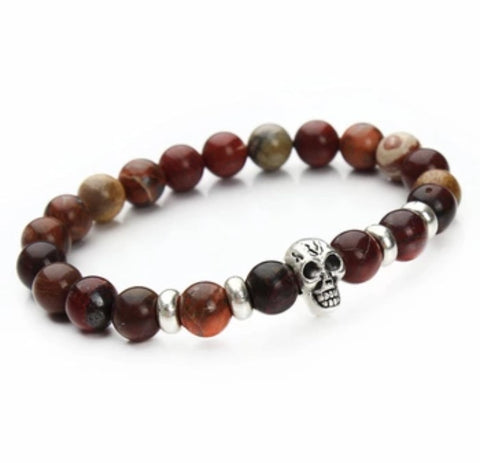 Beaded Onyx Hearts Skull Bracelets Earth