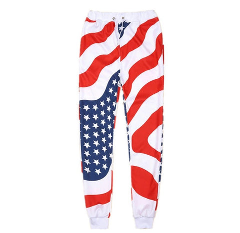 USA City Streetwear Joggers White Waistband