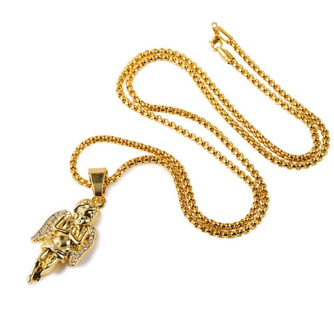 Praying Cherub 18K Gold Plated Necklace