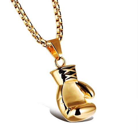 Gold Boxing Glove Necklace Large