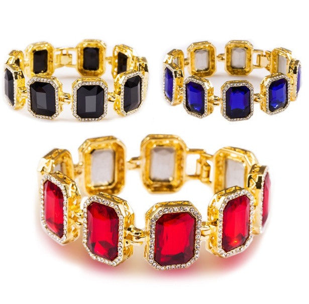 Iced Out 18K Gold Ruby Bracelet Black Blue and Red
