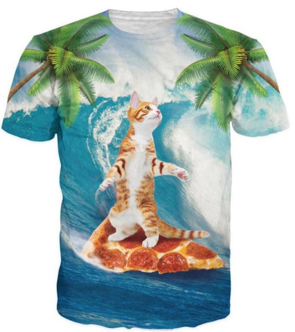 Pizza Surfing Cat T-Shirt