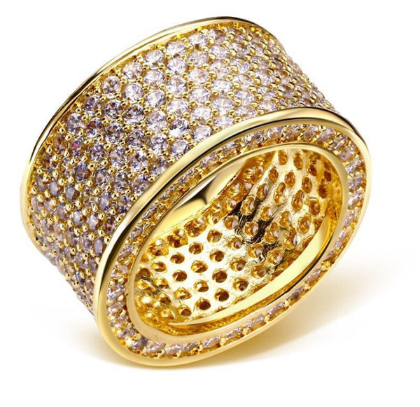 Gold Blinged Out Statement Ring