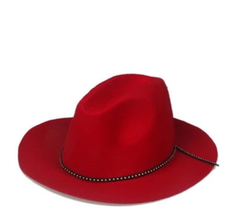 Classic Fedora with Leather Band Red