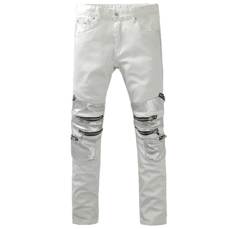 White Zipper Slim Denim Biker Jeans