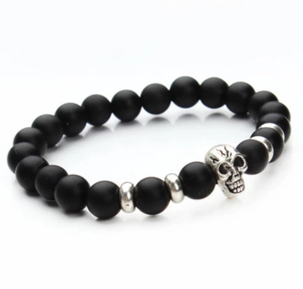 Beaded Onyx Hearts Skull Bracelets Matte Black