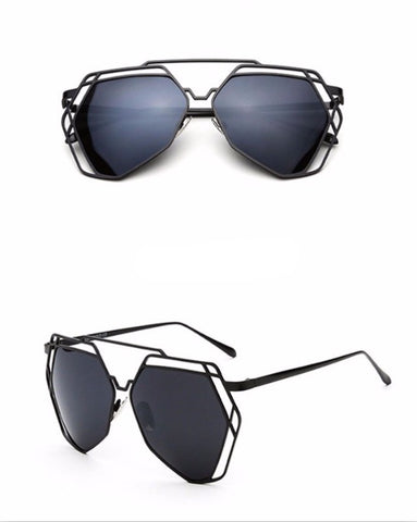 Street Fly Polygonal Mirrored Sunglasses Style 5