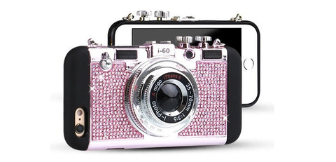 Blinged Retro Camera iPhone Case Gold