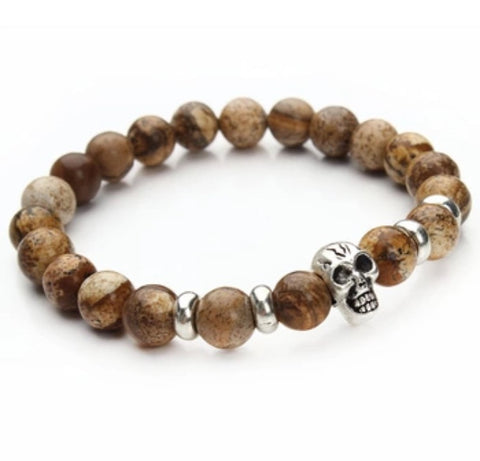 Beaded Onyx Hearts Skull Bracelets Light Brown