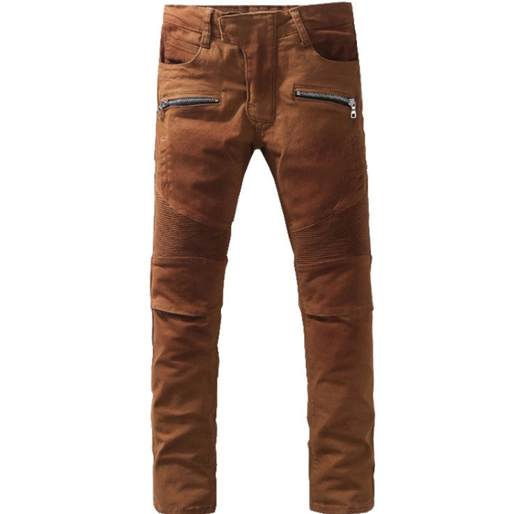 Coffee Slim Denim Biker Jeans