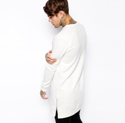 White Long Sleeve Extended Shirt w/ Gold Side Zippers