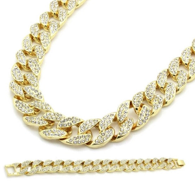 Iced Out Cuban Link Chain & Bracelet Set