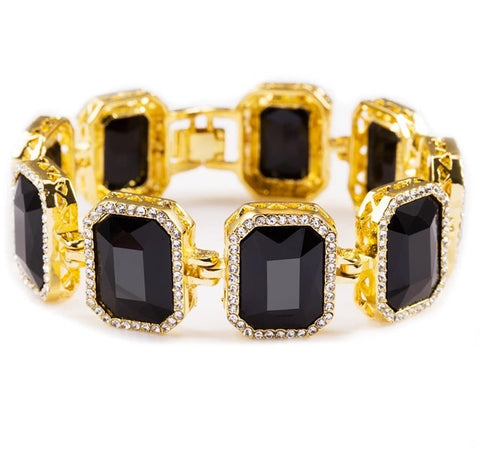 Iced Out 18K Gold Ruby Bracelet Black