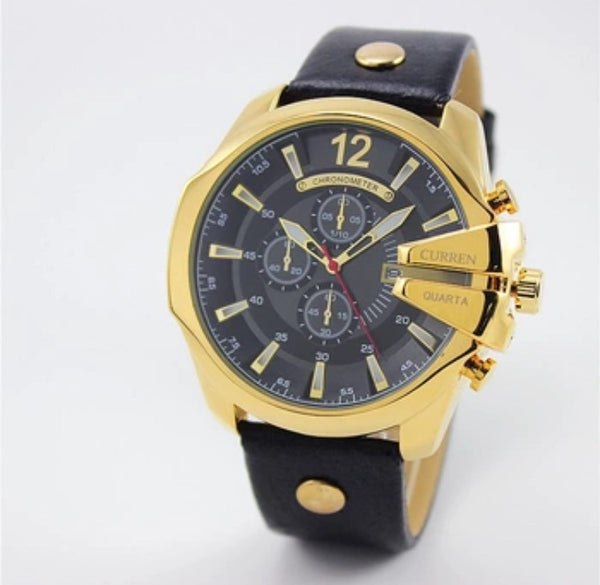 Curren Quarta Men's Luxury Watch in Gold Black