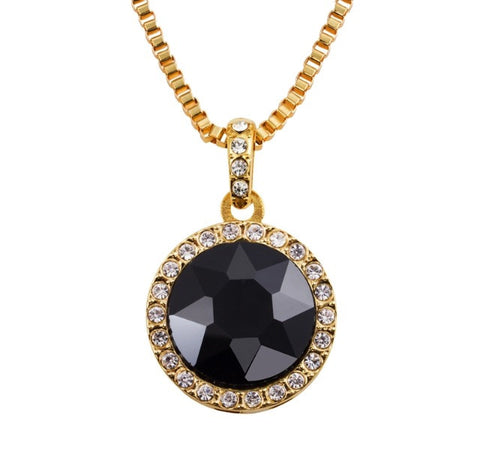 Black Circular Ruby Pendant & 18K Gold Chain