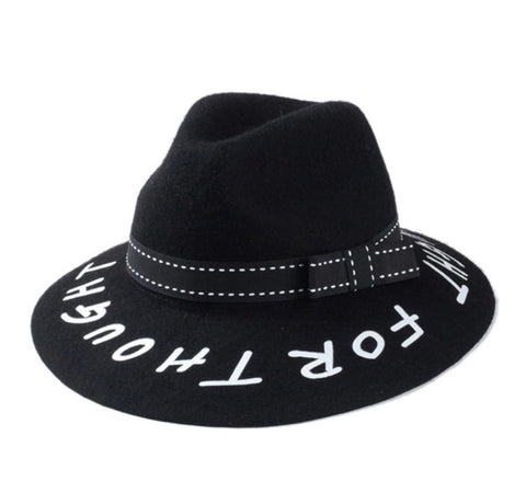 Graffiti Style Wide Brim Fedora Black Band