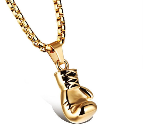 Gold Boxing Glove Necklace Small