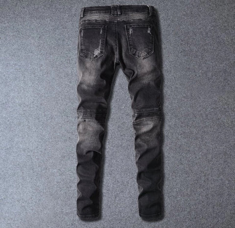 Black Distressed Denim Biker Jeans