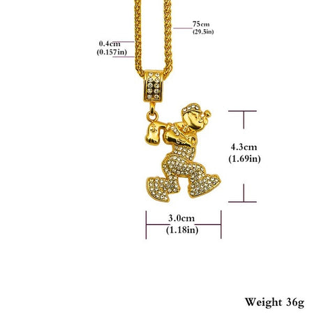 Popeye Pendant and Chain Dimensions
