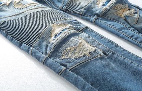 Custom Distressed Biker Jeans