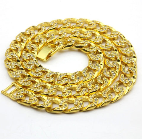 Cuban Ducé Link Iced Out Chain Yellow Gold