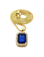 Gold 30in Chain with Ruby Pendant Blue