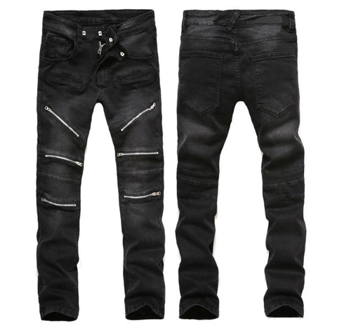 Top Tier Black Distressed Zipper Knee Jeans