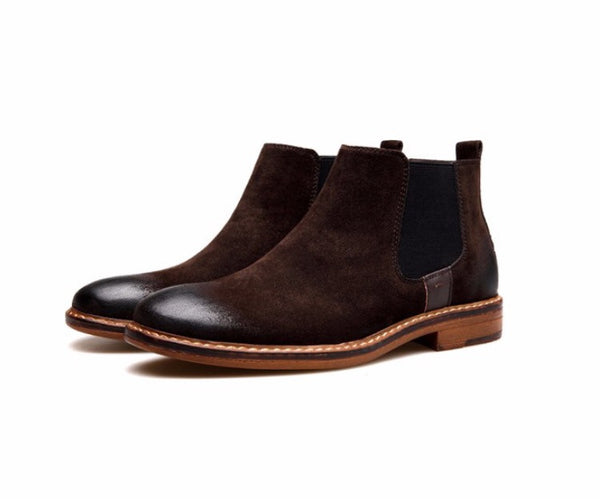 Distressed Suede Chelsea Boots Brown