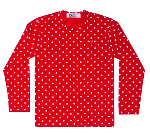 COMME Des GARÇONS PLAY Long Sleeve Polka Dot Shirt Black