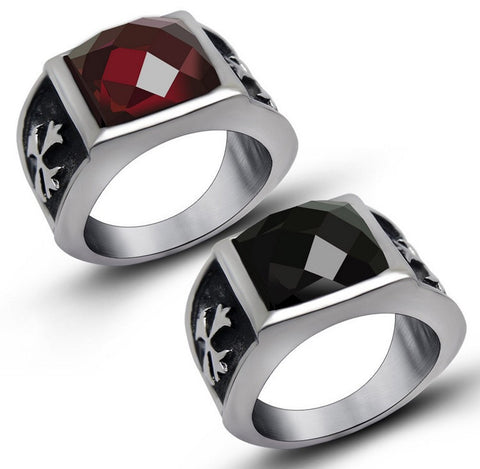 Nightmare Silver Ring Set in Black and Ruby