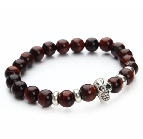 Beaded Onyx Hearts Skull Bracelets Brown