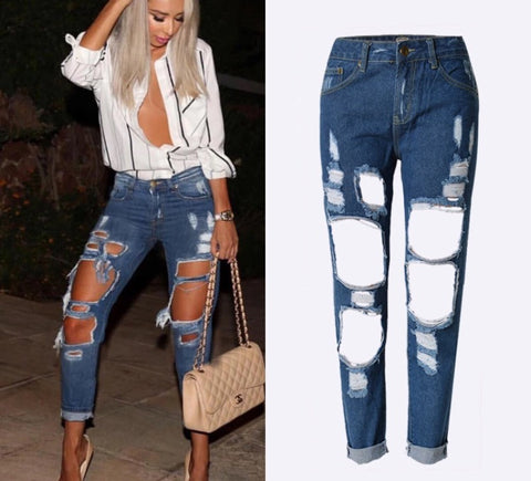 Onyx Hearts Femme Distressed Hole Blue Jeans